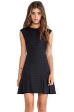 LaPina Carina Bandage Stretch Dress in Black & Black Leather