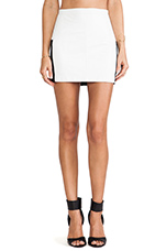 by David Helwani Juliette Leather Skirt in White Leather/Black