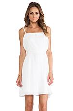 Linen Side Pleated Dress in White
