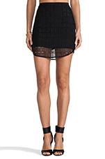 Organza Contrast Skirt in Black
