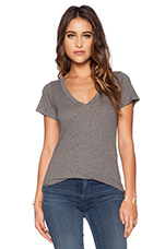 Short Sleeve Deep V Tee in Heather Grey