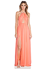 Isla Twist Halter Maxi Dress in Coral