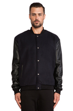 Varsity Bomber in Midnight/ Black