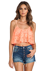 Delight Crop Top in Coral Lace