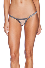 Stripe Illusion Thong in Charcoal & Nude