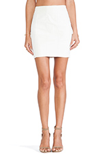 Faux Leather Skirt in White