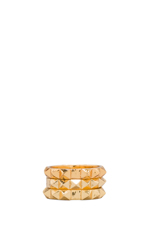The Punk Stud Ring Set of 3 in Gold