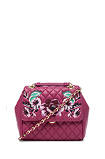 I Love Embroidery Shoulder Bag in Fuxia