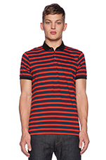 Multi Stripe Polo in Ink Blue Multi