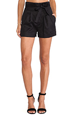 Cotton Linen Twill Shorts in Black