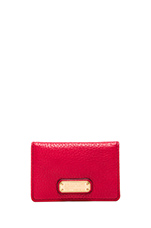 New Q Business Card Case in Rosey Red Multi