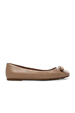 10mm Ballerina Tuxedo Logo Plaque Flats in Nude