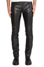 Leather Skinny Jeans in Darkest Black