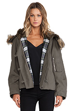 Cropped Parka with Faux Fur Trim in Parka Grey