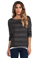 Double Layer Stripe Reversible Long Sleeve Boatneck Hi-Low Sweater in Black