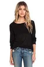 Long Sleeve Mesh Sweatshirt in Black