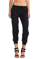 Rib Cuff Pants in Black