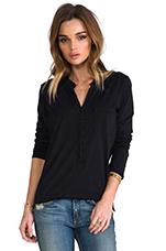 Long Sleeve Henley in Black