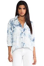 High Low Button Down Shirt in Cloud Wash