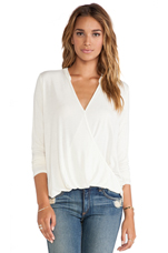 Long Sleeve Surplice Top in Ivory