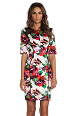 Floral Print Paneled Raw-Edge Sleeve Dress in Multi
