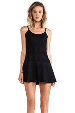 Drop Waist Allover Lace Dress in Black