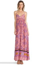 Water color Tiles Maxi Dress in Multi