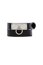 Leather Wrap Bracelet in Silver & Black