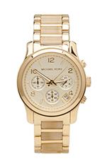 Runway Chronograph Watch in Bone/Gold