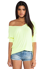 Dylan 3/4 V Neck Draped Tee in Lemon Drop