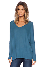 Hyde Draped V Neck Tee in Blue Moon