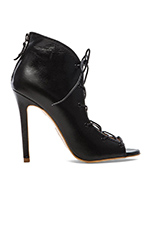 Lace Up Bootie in Black Leather