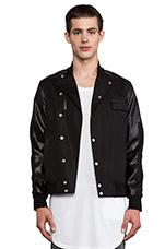 Asymmetric Coolever Varsity Jacket in Black