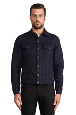 Quilted Cotton/Wool Double Denim Jacket in Navy