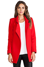 Felted Wool Coat in Neon Red