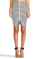 Breton Stripe Pencil Skirt in White/Black