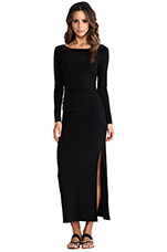Long Sleeve Shirred Waist Maxi Gown in Black