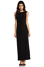 V Back Neck Gown in Black