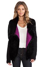 Rabbit Fur & Ribbed Jacket in Black