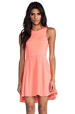 EXCLUSIVE Jackie Circle Skirt Dress in Neon Coral