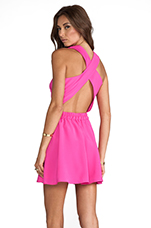 Twisted Circle Dress in Pop Pink