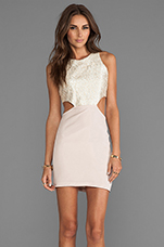 2 Tone Cut Out Dress in Taupe Shimmer/Taupe