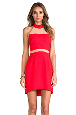 Paneled Peekaboo Dress in Red