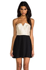 2 Tone Bombshell Circle Dress in Taupe Shimmer & Black