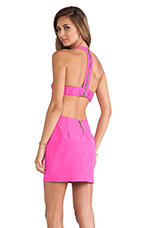 T Back Cutout Dress in Pop Pink