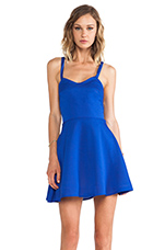 Crossed Circle Mini Dress in Vegas Blue