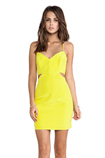 Lux V Neck Cut Out Dress in Chartreuse