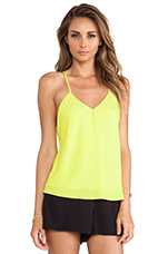 V Neck Baby Doll Top in Chartreuse