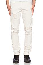 Striped Bull Denim Jean in Off White