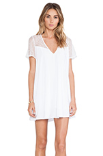 Deep V Lace Swing Dress in Cream